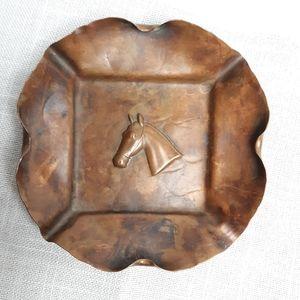 VTG copper horse head ashtray